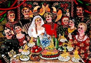 traditional russian wedding feast manners customs and  after returning from church the guests took seats in two rows men on the one side of the table and women on the other a round cheese would be put on the